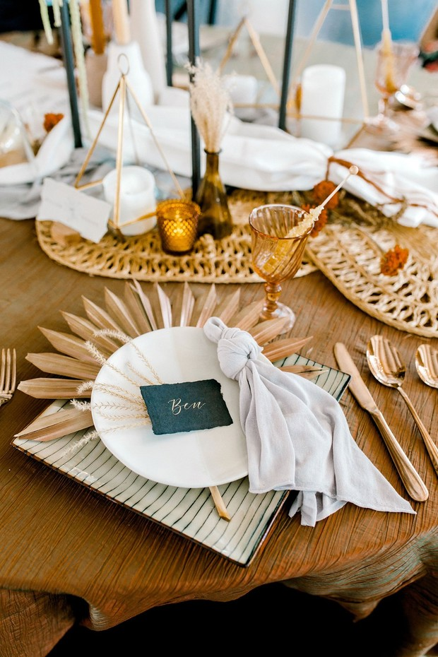 midcentury modern wedding place setting