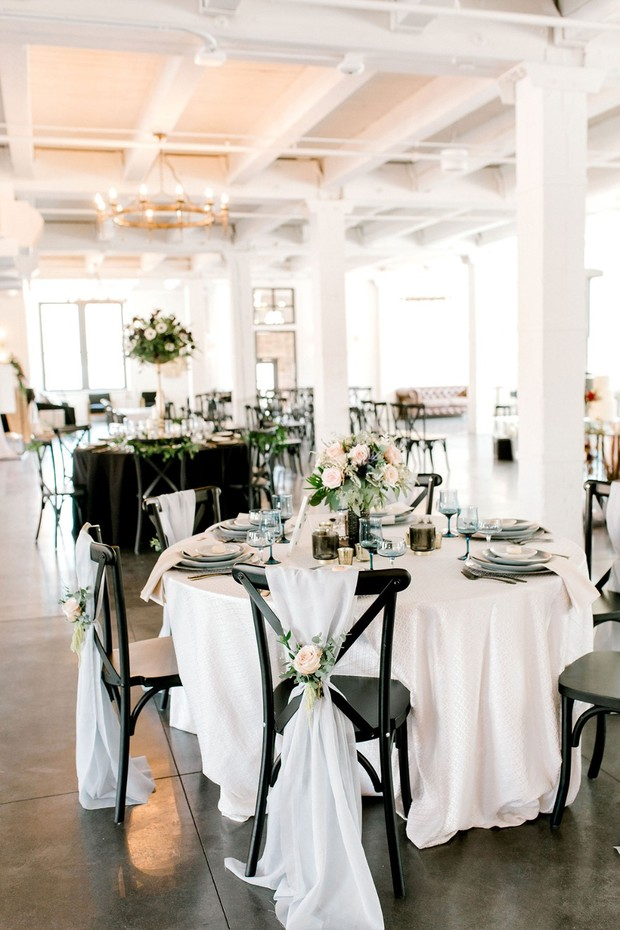 black and white formal table decor