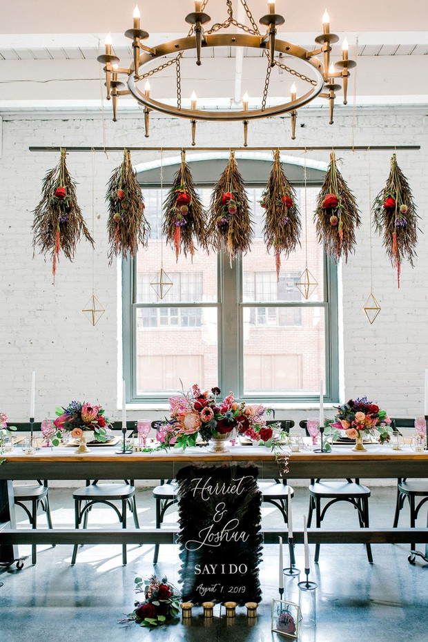 romantic mysterious wedding head table