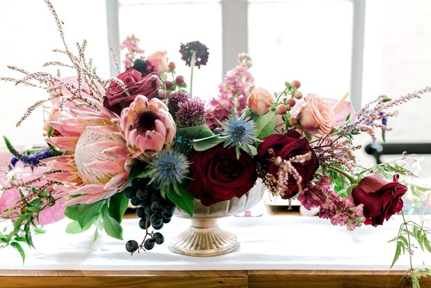 cascading wedding floral centerpiece