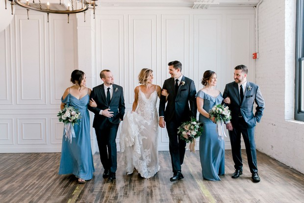 wedding party in grey and blue