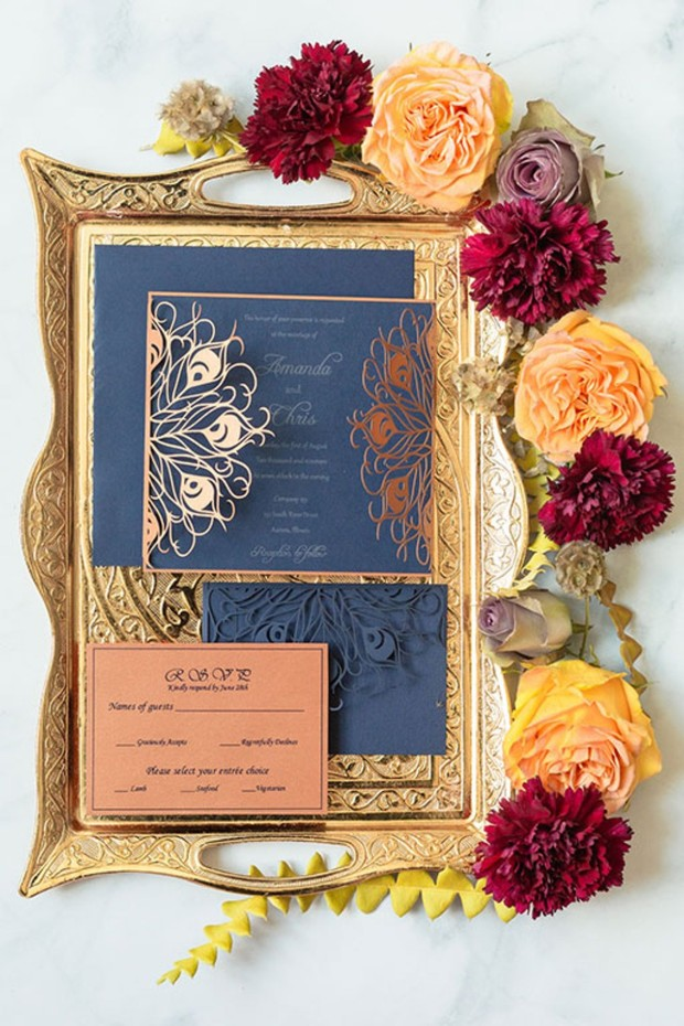 copper peacock wedding invitation suite