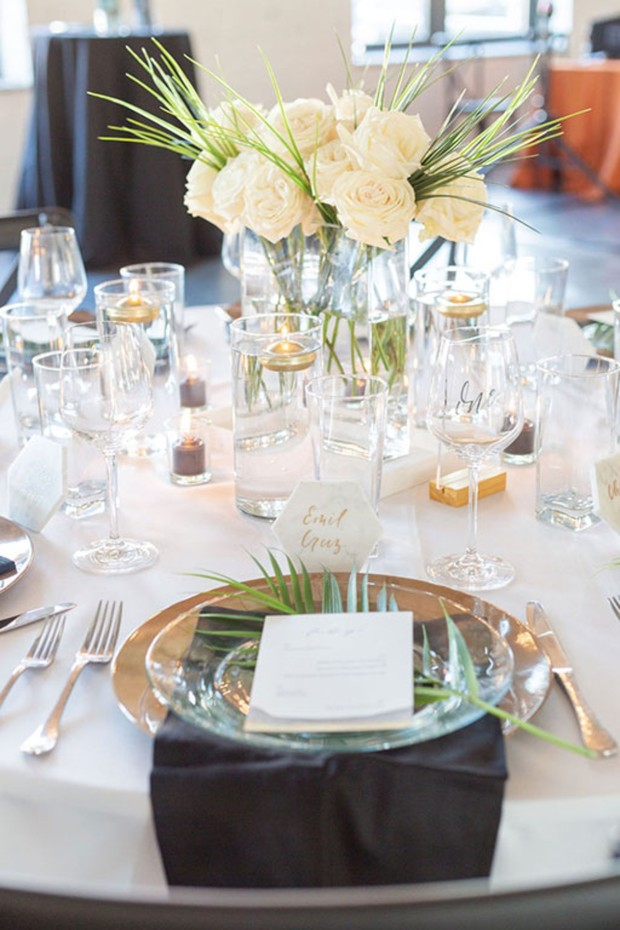 white and gold wedding place setting
