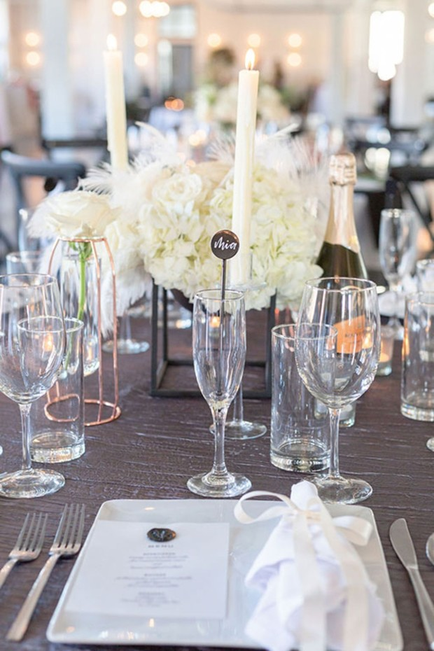 white and grey wedding table decor