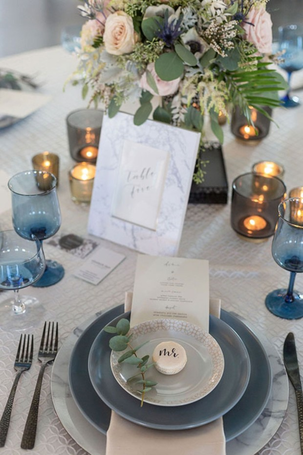 marble blue and grey wedding table decor