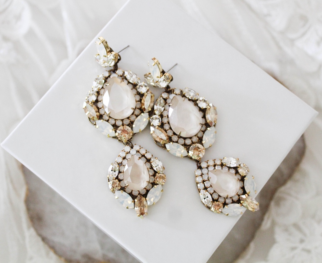 Beautiful large Swarovski crystal statement earrings are a true work of art that you will cherish from your wedding day and well beyond