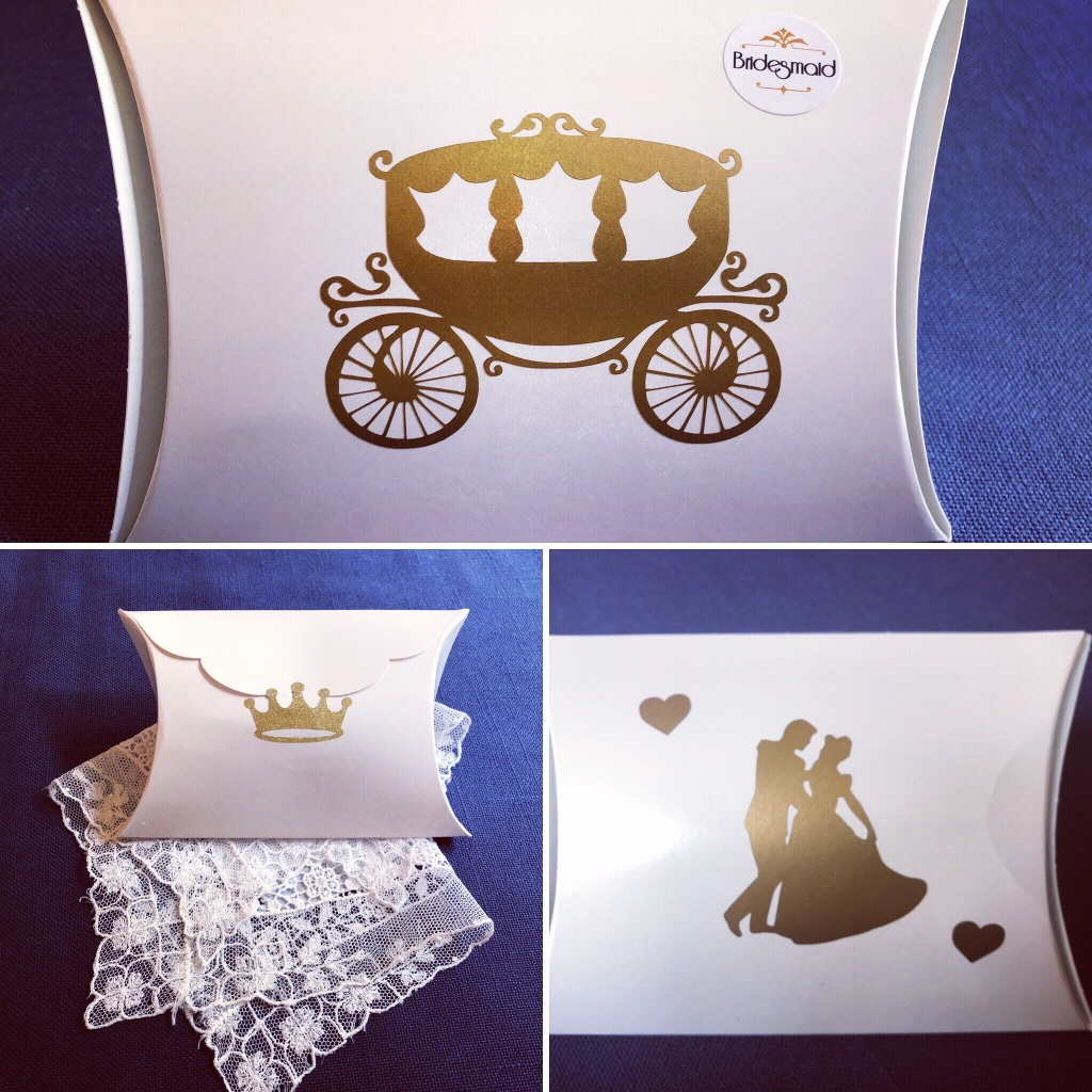 ADORABLE Wedding Favor Boxes or Bridal Party Handkerchief Gift Boxes for a Cinderella-themed, Princess-themed, or Fairytale-themed