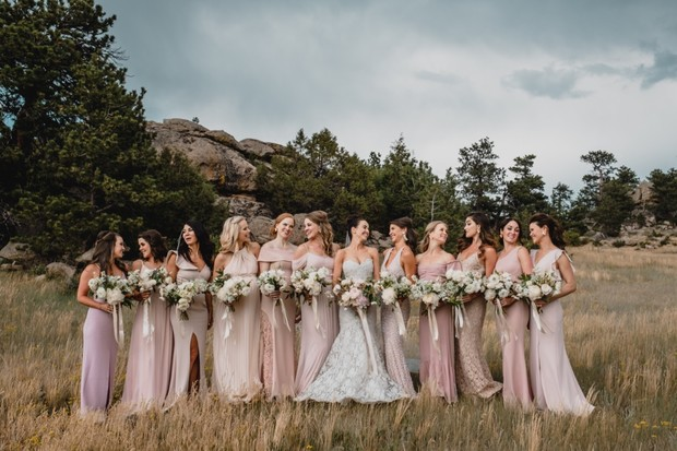 bridal party in shades of pink