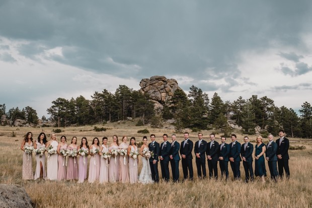 wedding party in the Rocky Mountains