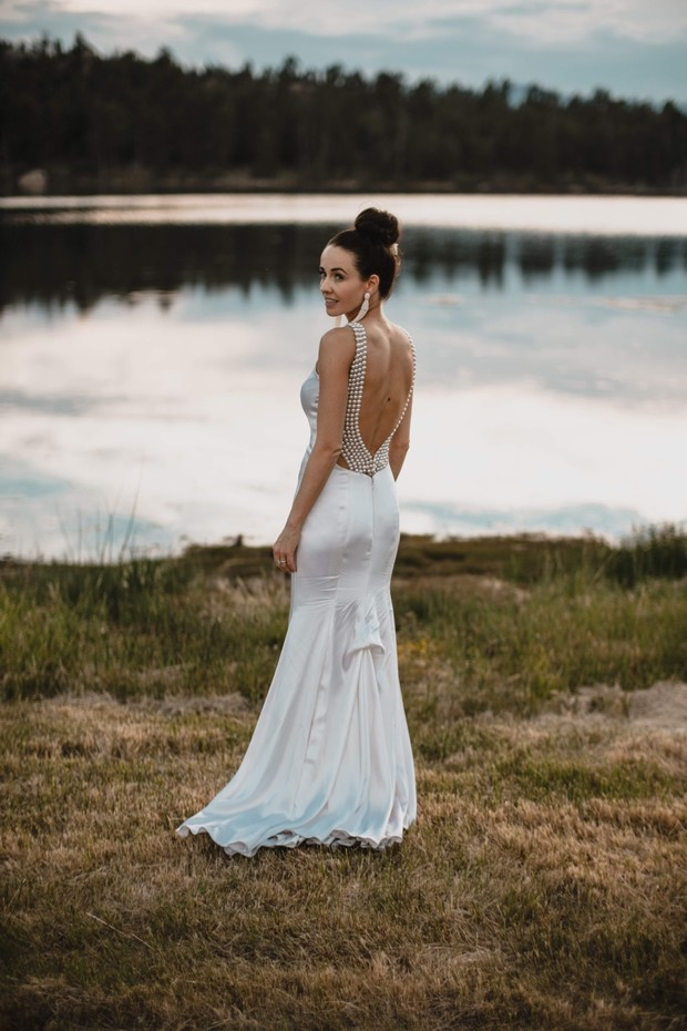 bride in chic reception dress