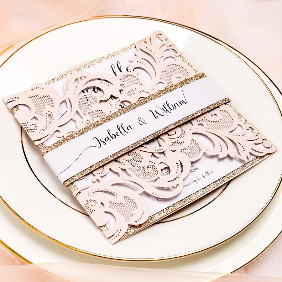 oft blush laser cut invitation brings you the elegant theme of a spring and summer garden wedding! We especially like the shiny gold