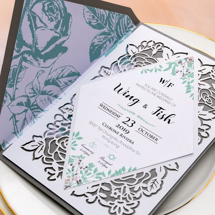 This unique invite features geometric center card surrounded with laser cut floral design, creating a classic and vintage theme. Besides