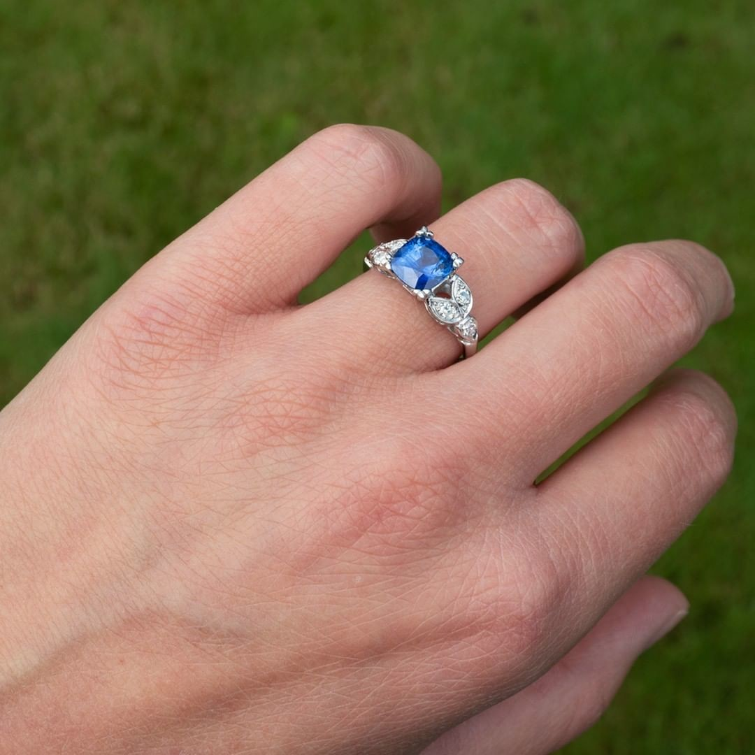 2.2 Carat Cushion Cut Sapphire in Vintage Floral Mounting
