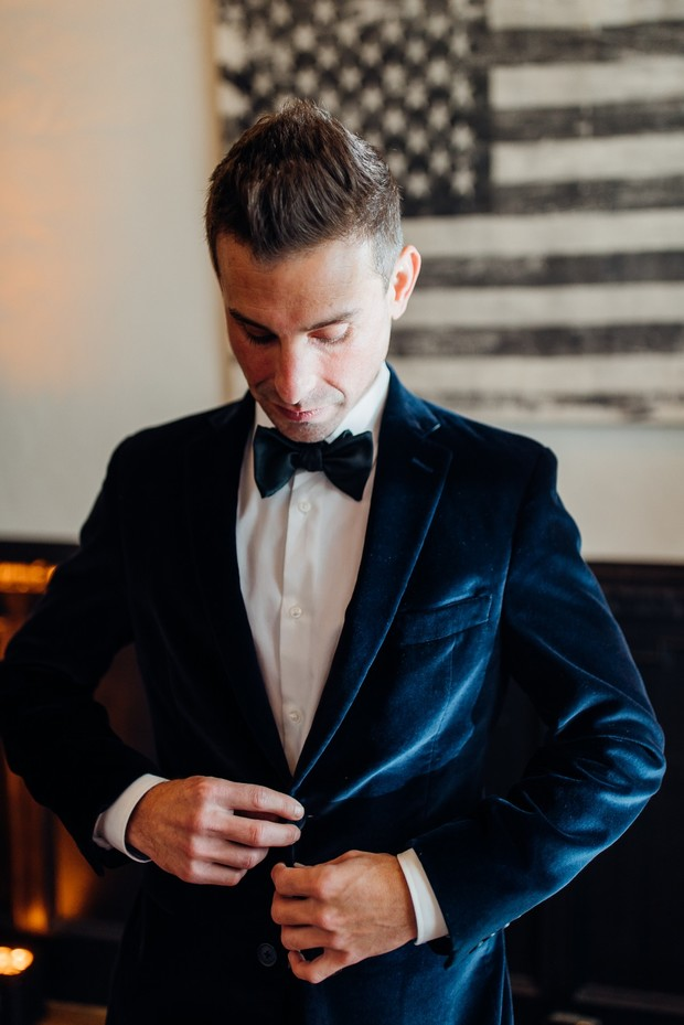 velvet blue jacket for groom