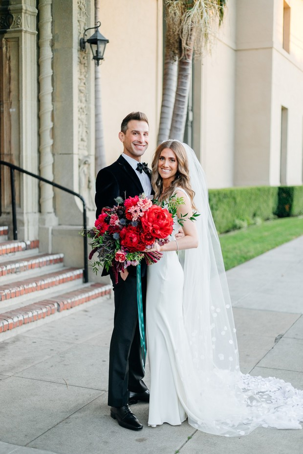 gorgeous black tie wedding with jewel tones
