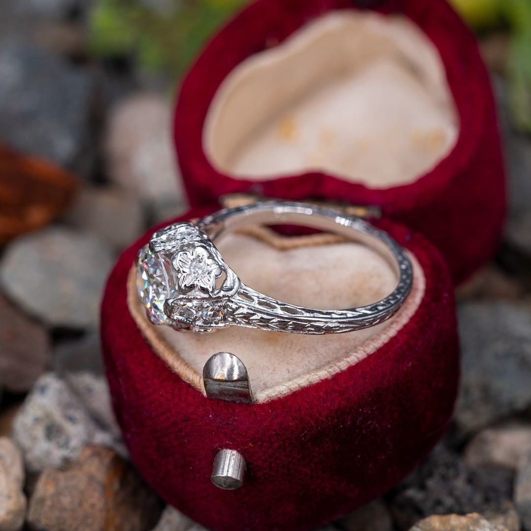 Antique Floral Engraved Engagement Ring