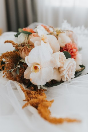 blush and burnt gold wedding bouquet