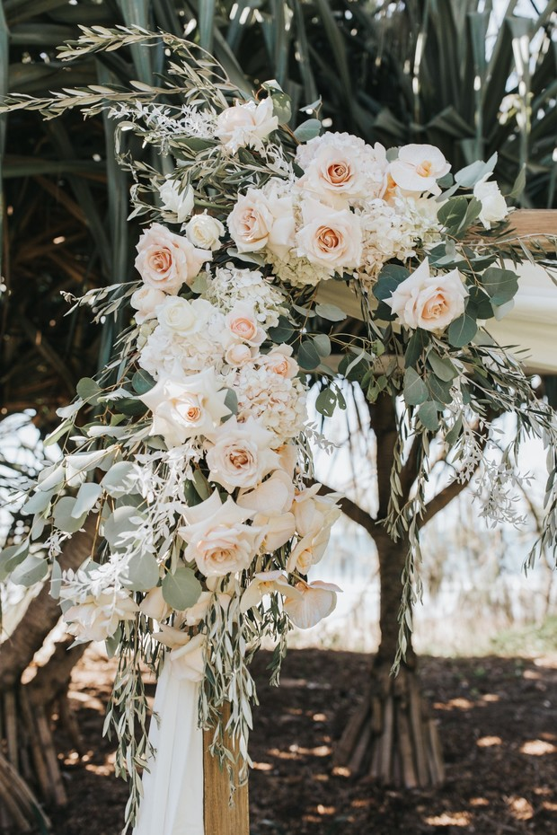 blush and white wedding floral decor