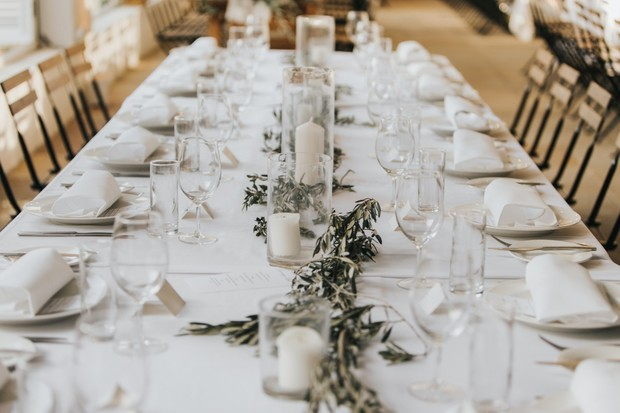white and neutral wedding table decor