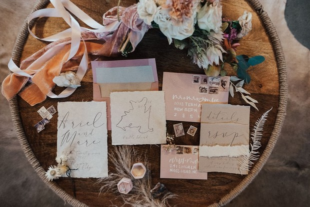 modern rustic invitation suite