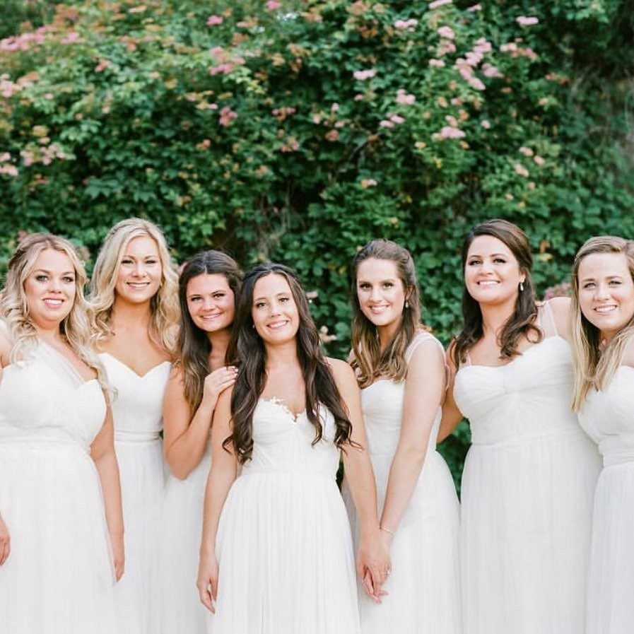 Babes in white for a bridal party that shines bright.✨
