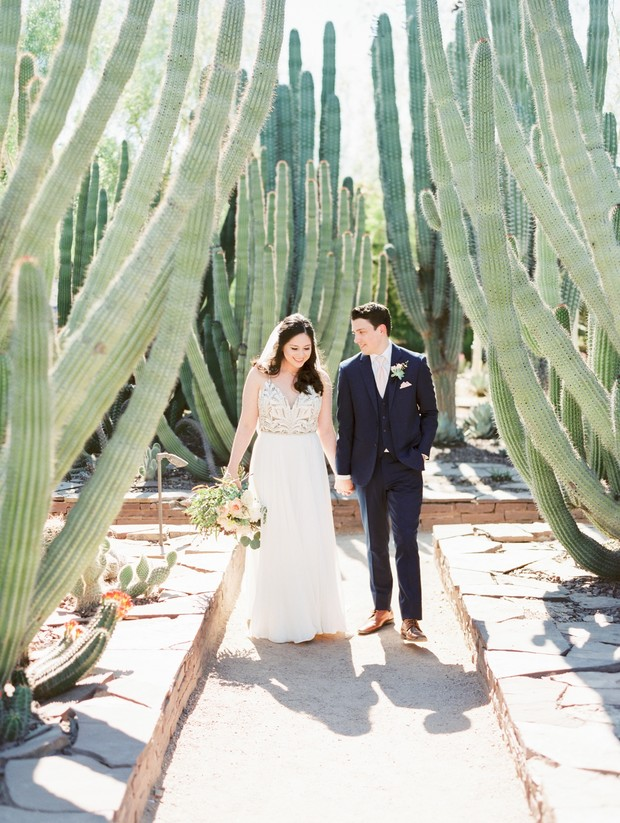 wedding couple in cactus forest
