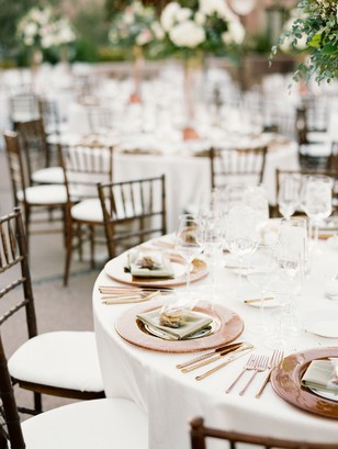 copper and white place setting