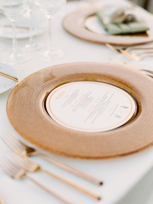 copper and white wedding place setting