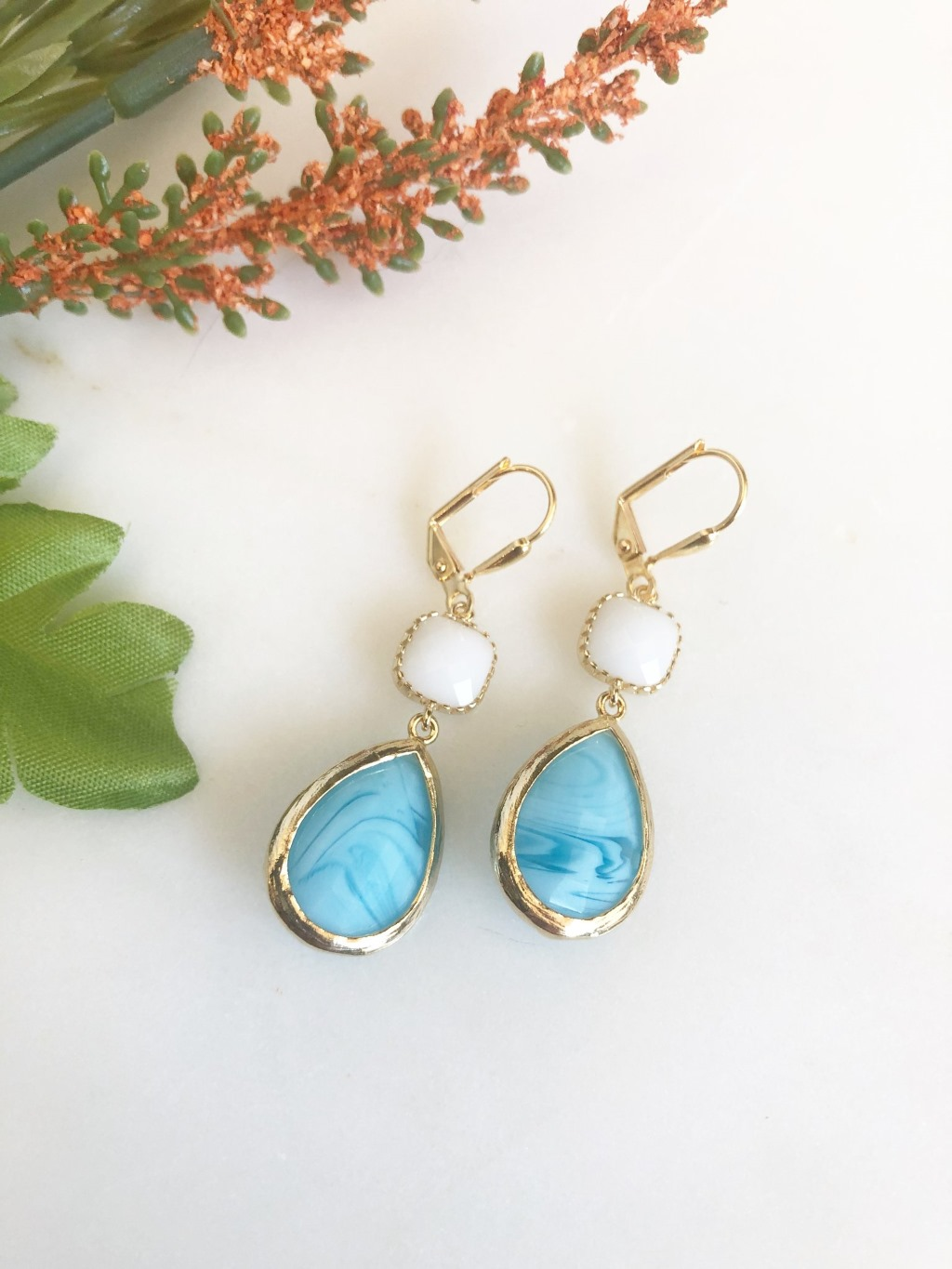 Sky Blue Swirl and White Glass Drop Earrings in Gold.