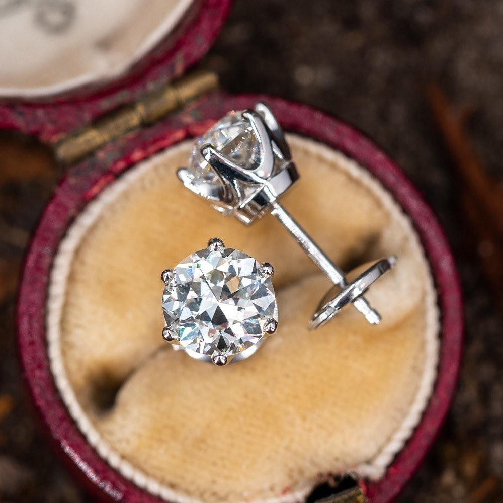 Antique Diamonds in Platinum Crown Studs