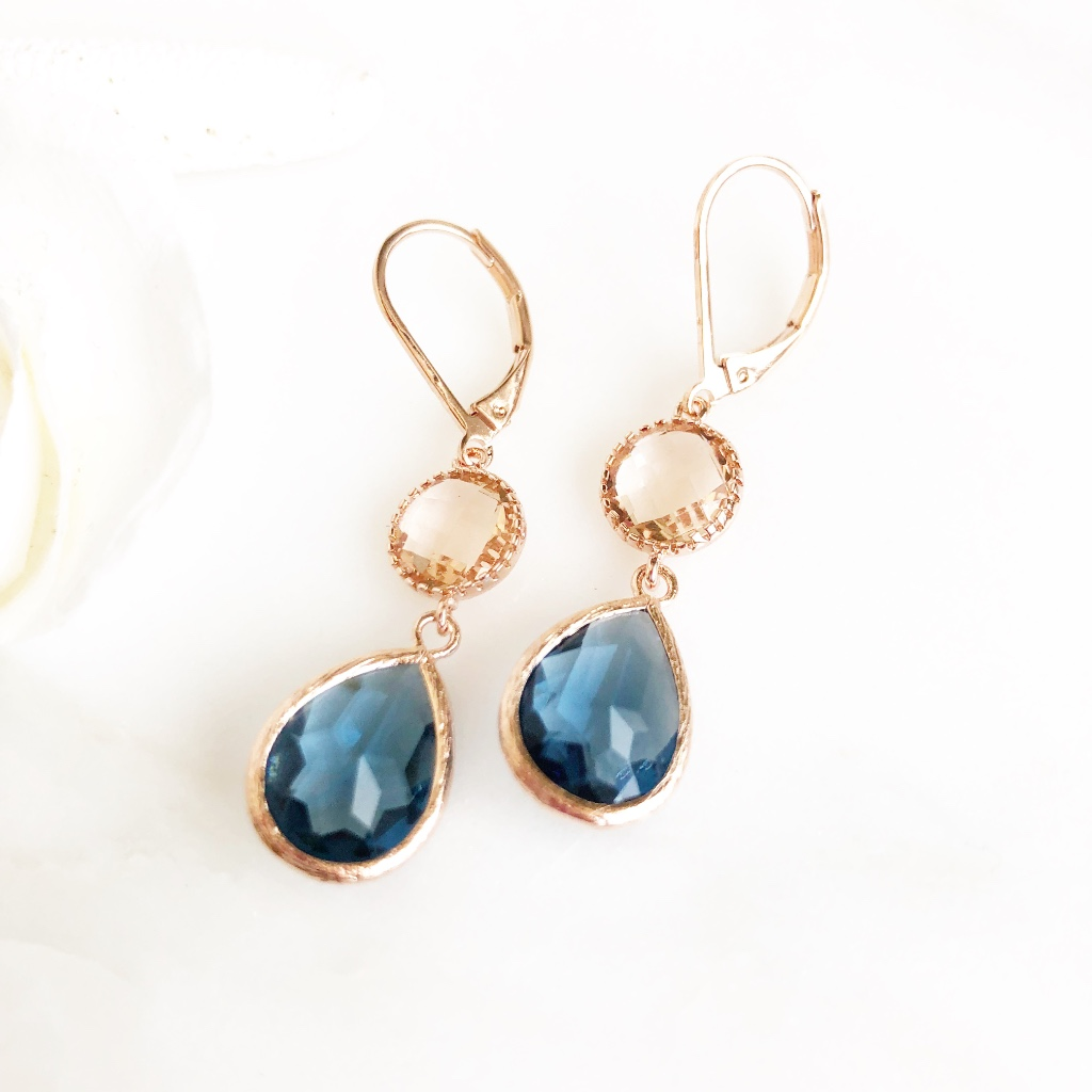 Rose gold champagne and sapphire earrings. Rose gold plated brass ear wire.