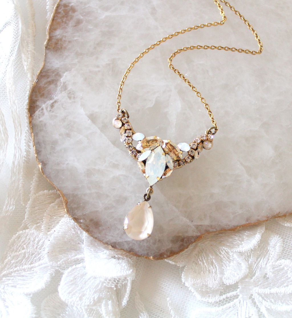 Antique gold Swarovski White opal and Ivory cream Bridal necklace is delicate and full of detail.