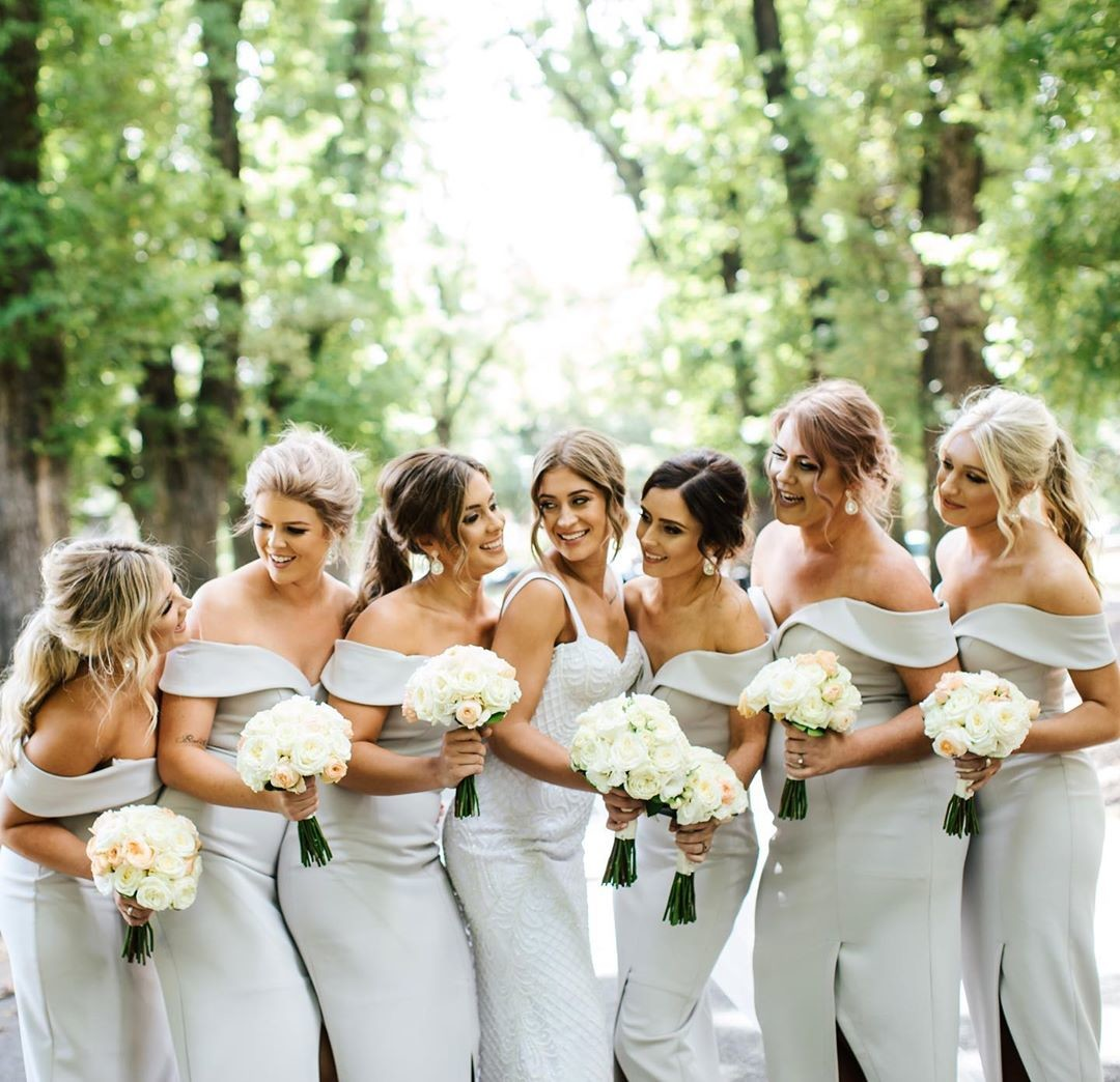 Emily's gorgeous #bridesmaids in our Connelly Midi
