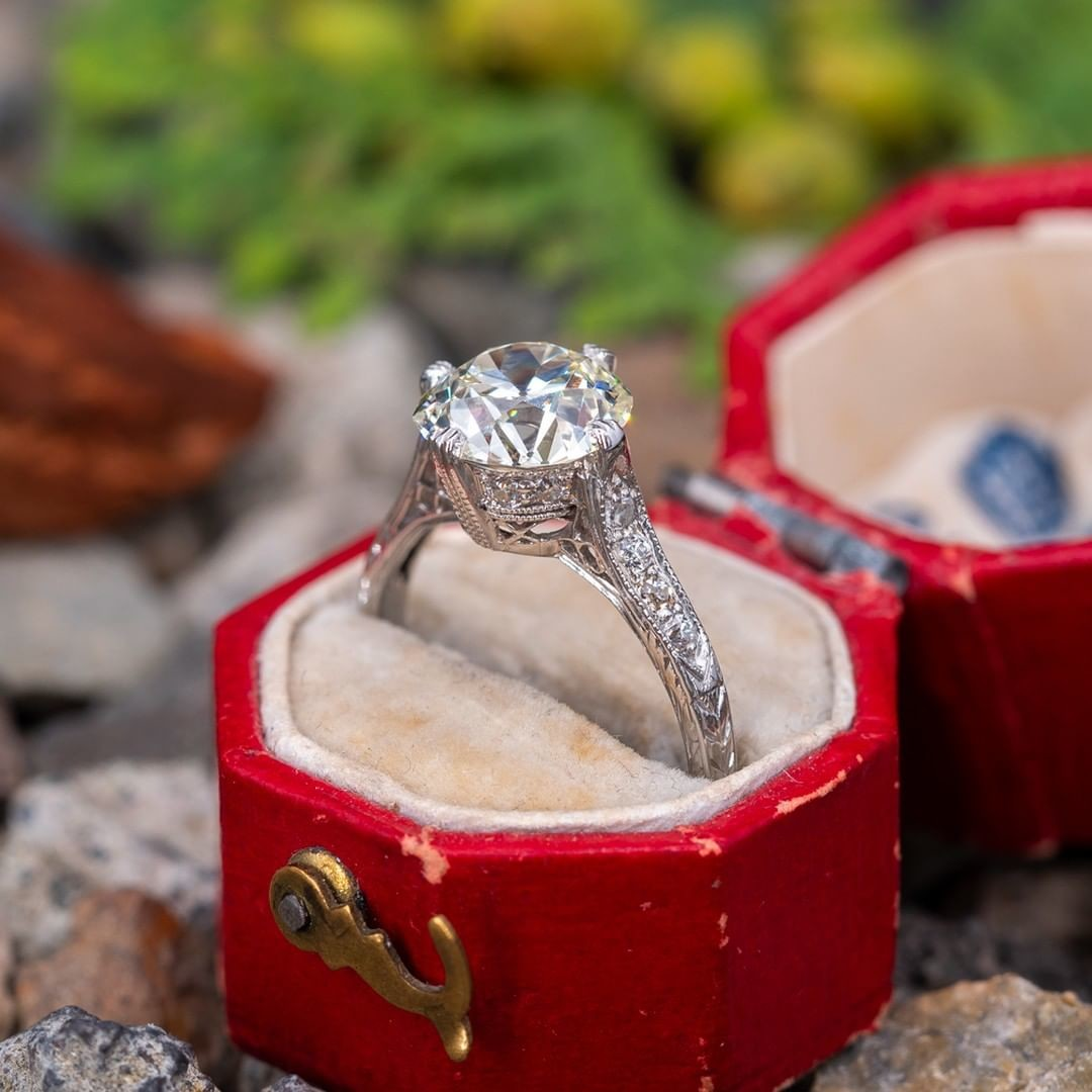 The intricate details of a true antique engagement ring