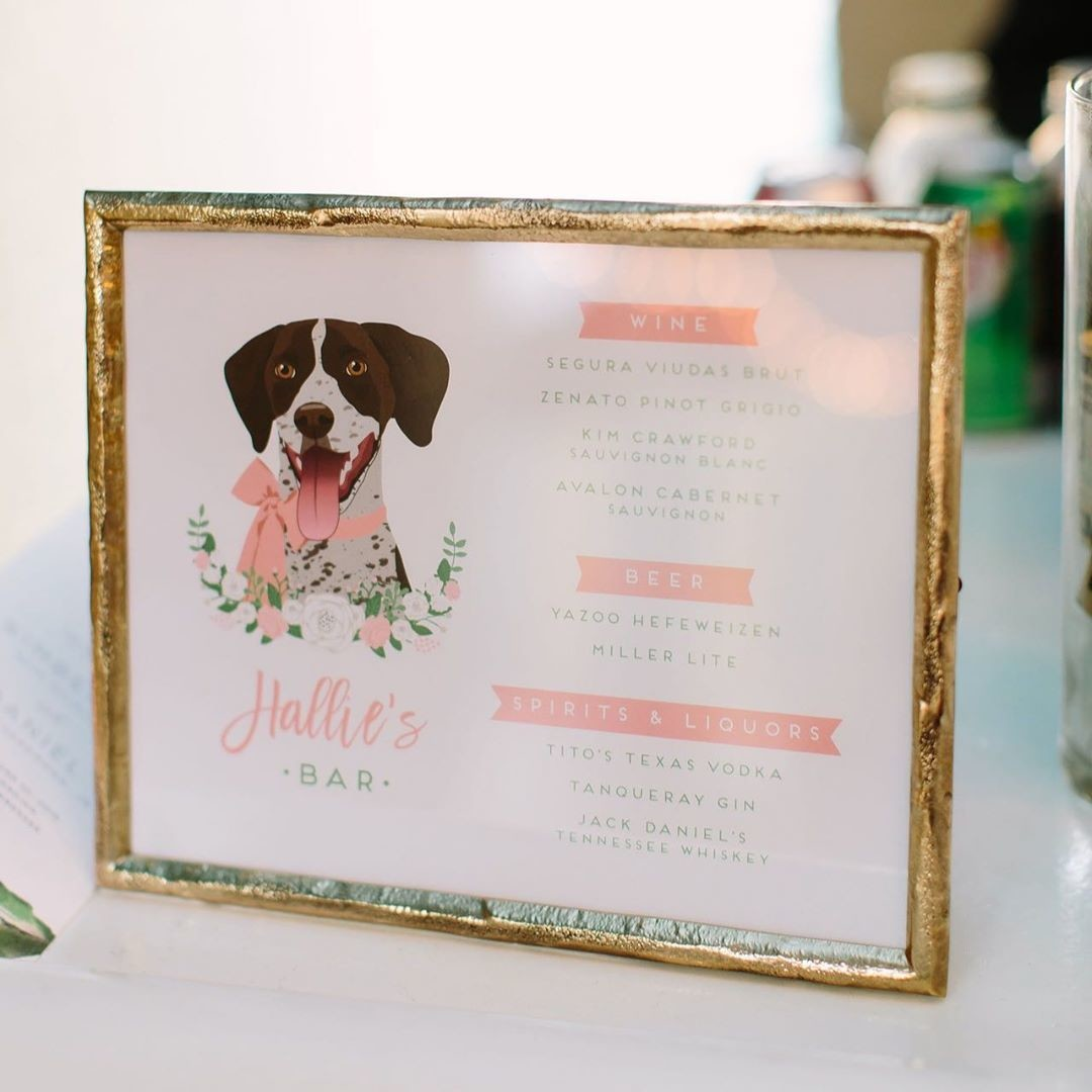 This pup is pretty in pink! 💕 Thanks to the blushing bride, @kim_herrm