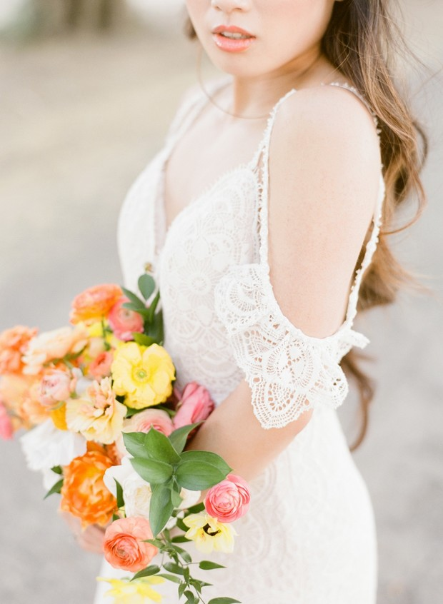 off-shoulder lace wedding dress from Bride-to-Be Couture