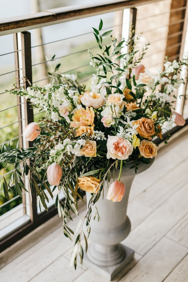 blush yellow and ivory wedding floral decor