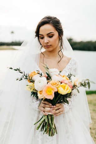 bridal style with blush and yellow bouquet