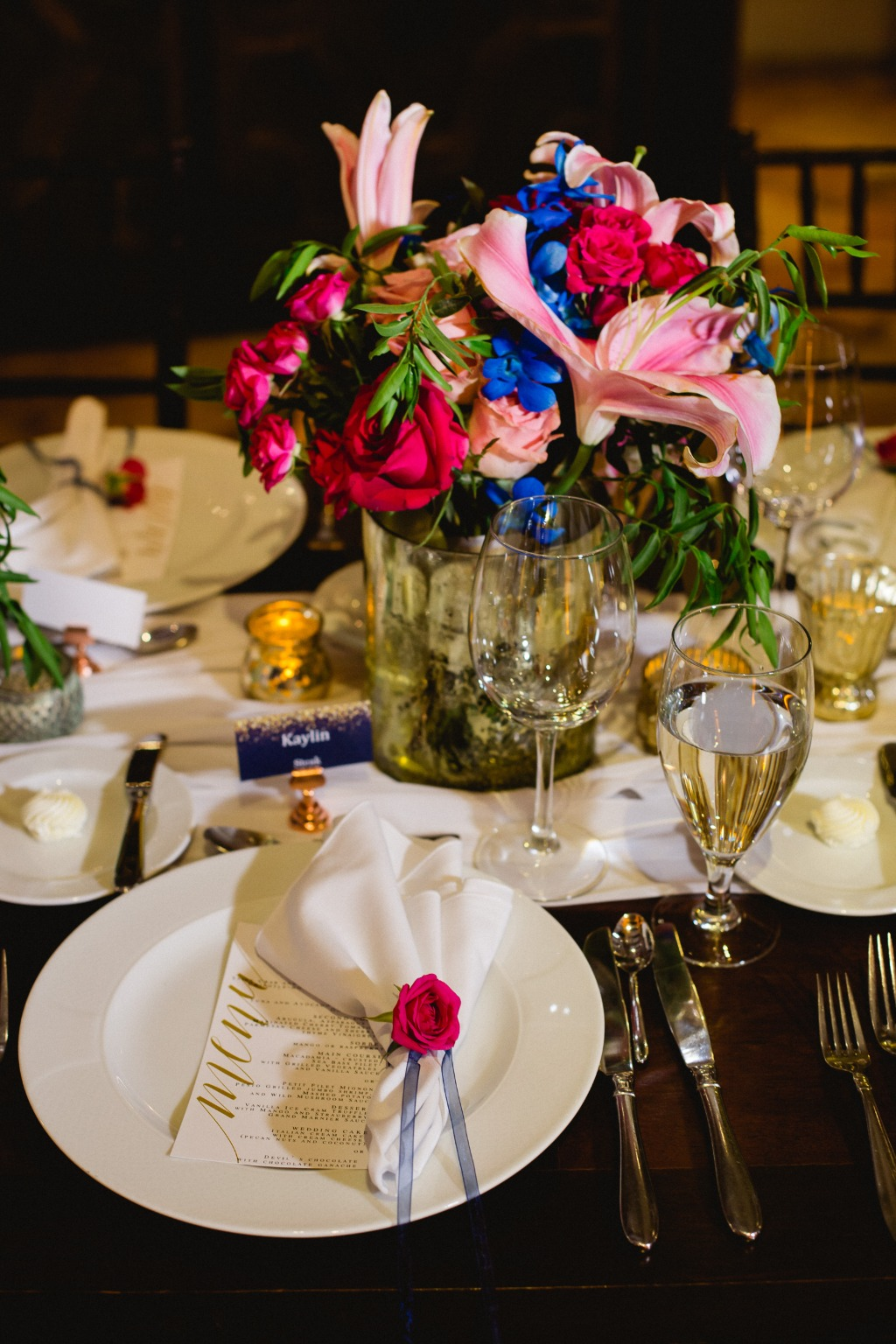 Blue accents in flowers for this beautiful Hacienda Style Wedding