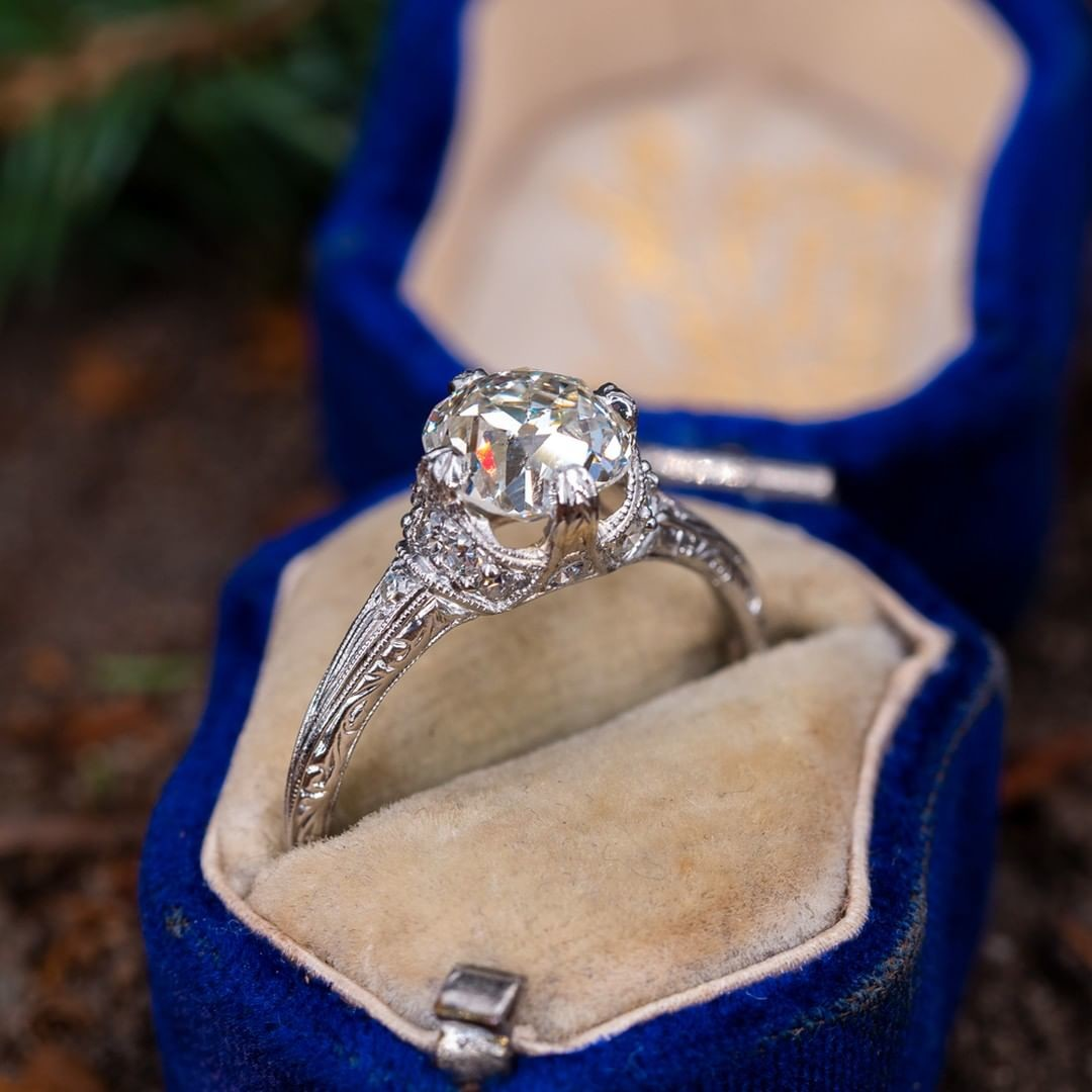 Fully Engraved Antique Engagement Ring