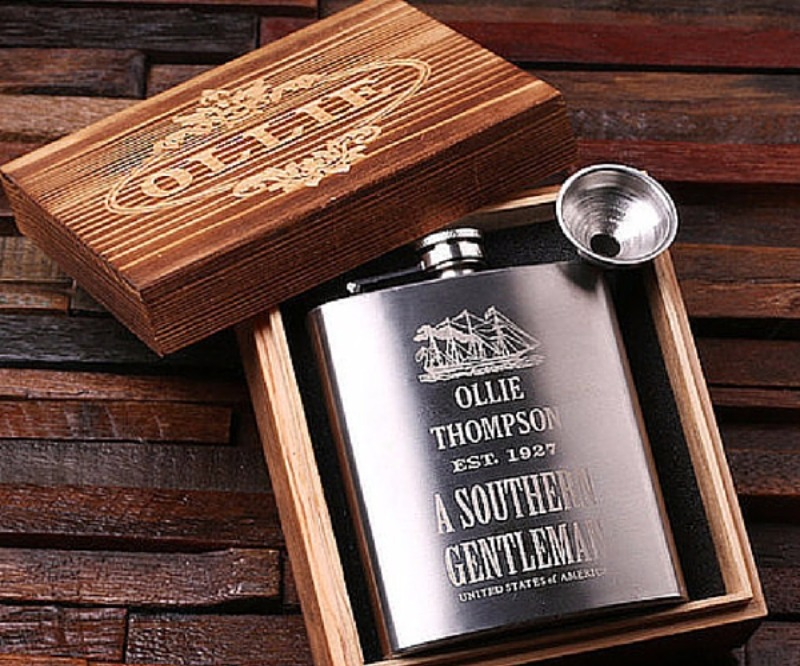 Engrave his initials, name or special message on this sleek, robust steel flask for that perfect groomsmen gift. It also comes in a