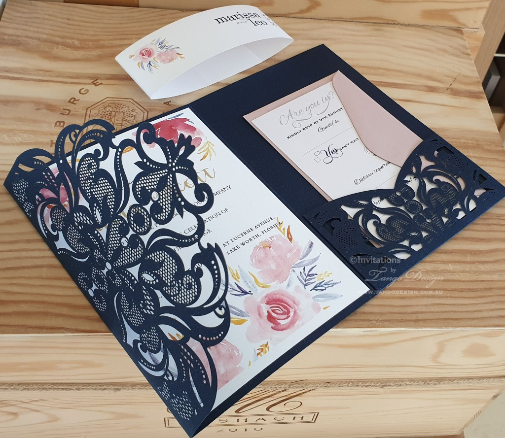 Elegant and classic navy blue wedding invitation with all what your guests need for your wedding day. Any color, with or without flowers