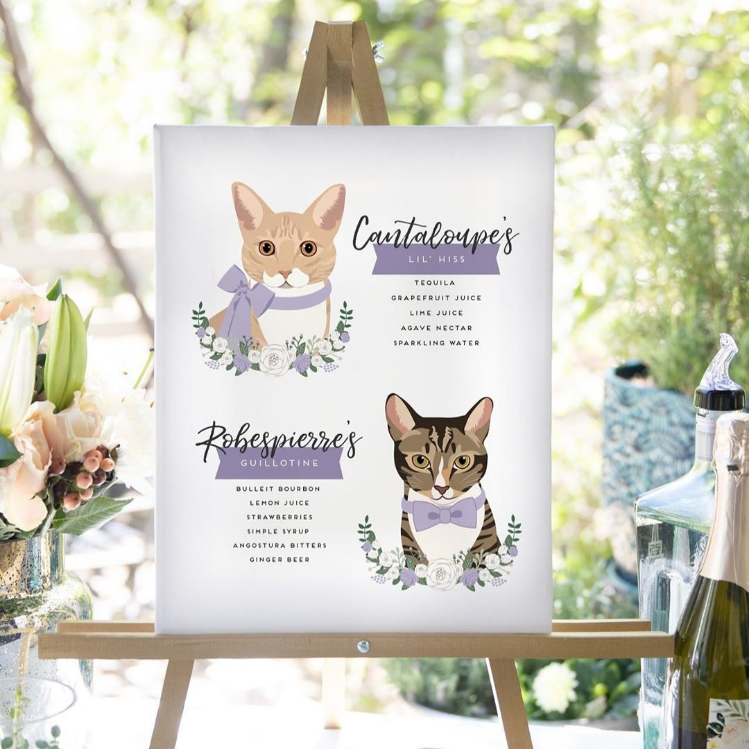 ⁠This custom cocktail sign surely was the cat's meow at this wedding! 💜 Also, can we talk about how adorable these names are,