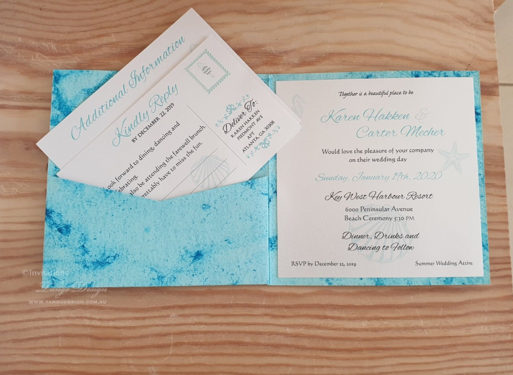 Gorgeous trendy marbled beach wedding invitation pocket!