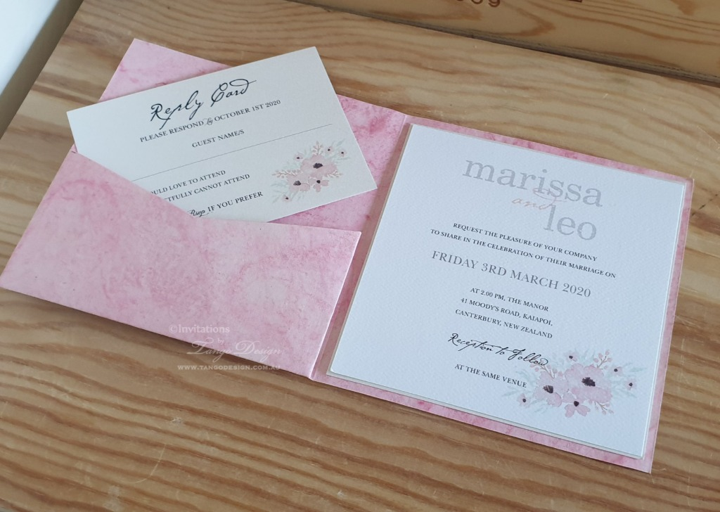 Something different! Marbled card made into a Pocket invitation.. Custom color and printed design