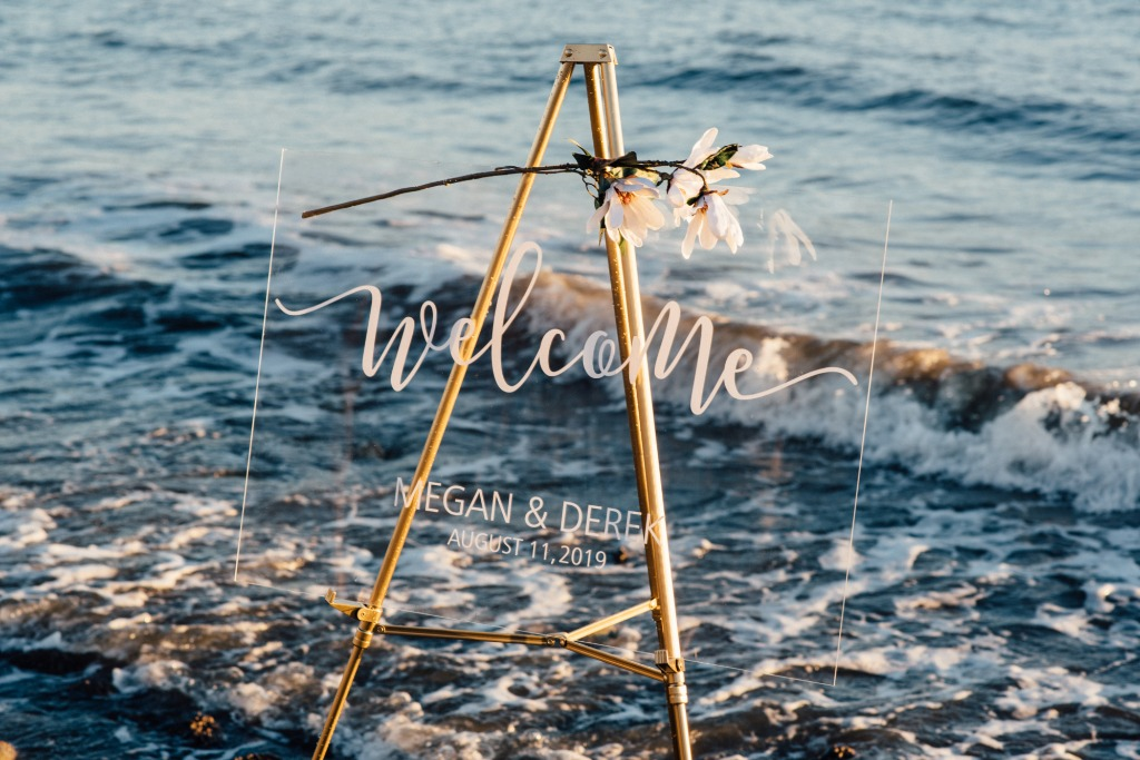 Our acrylic wedding welcome signs come personalized with your names and wedding date. This sign is a beautiful decor piece for your