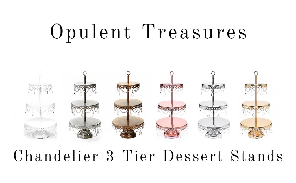 Opulent Treasures Chandelier 3 Tier Metal Dessert Stands... Display cupcakes, mini desserts & cake pops for your wedding dessert