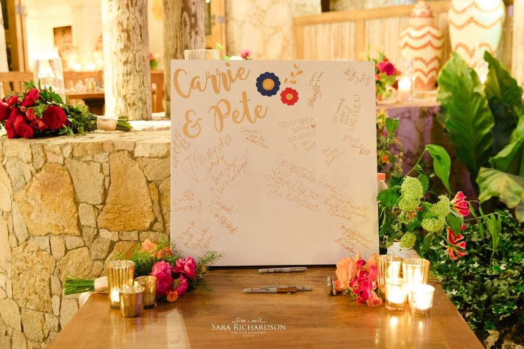 Hand painted and personalized guest book for an colorful Hacienda Style Wedding