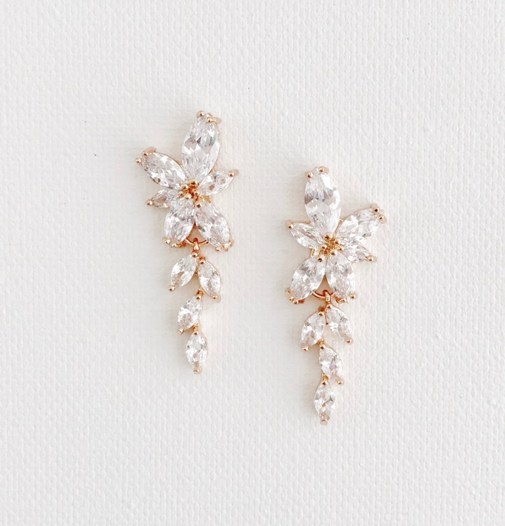 Looking for rose gold bridal earrings for your wedding? The Dolce Bridal Earrings