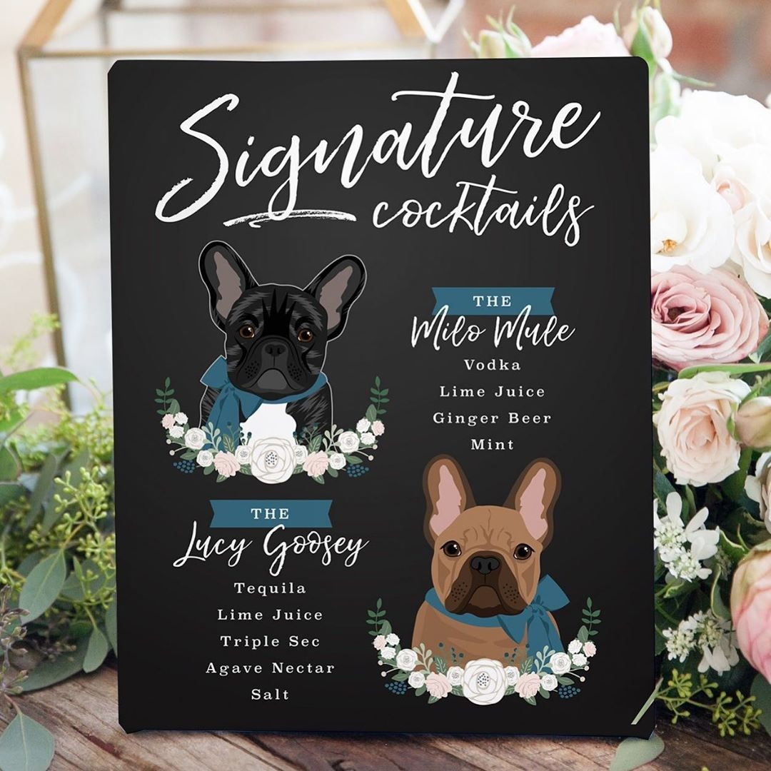 These precious Frenchies were the talk of the bar at their paw-rents' big day! 🐾 Such adorable faces and scrumptious-sounding drinks